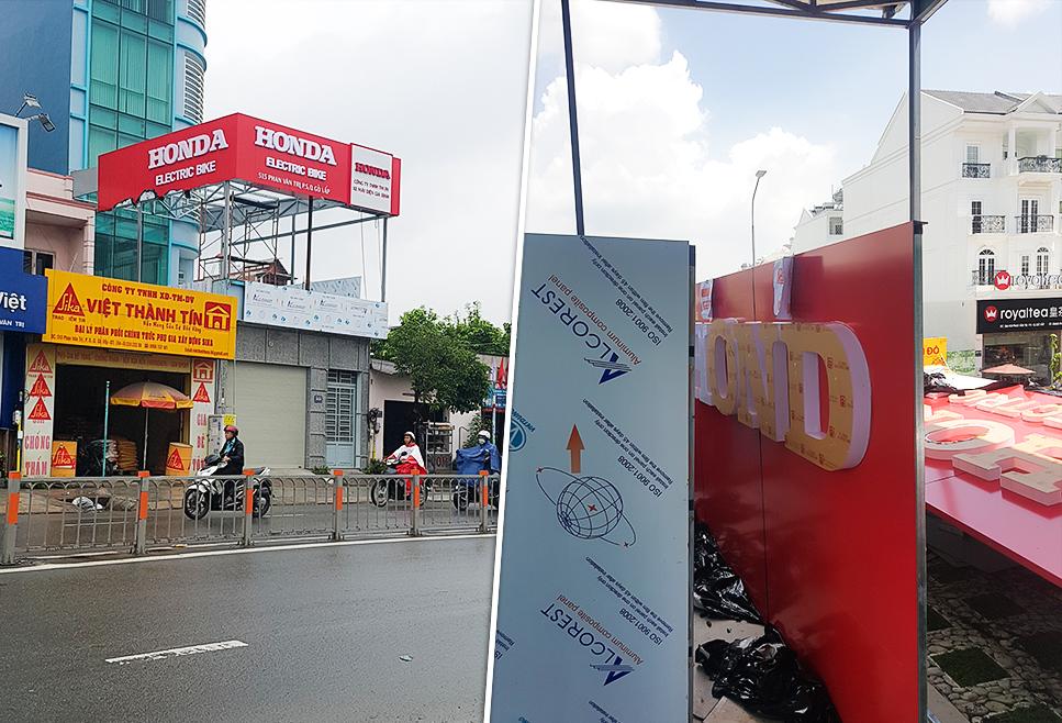 Trang trí ốp alu showroom Phan Văn Trị Gò Vấp